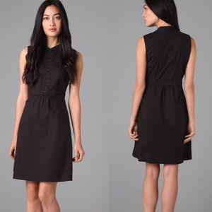 $185 Theory Cyrena Black silk/cotton dress Sz 6